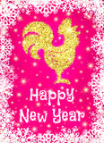 Gold glitter crowing rooster with sparkles on pink Stock Image