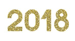 2018 Gold Glitter Date Happy New Year Royalty Free Stock Images