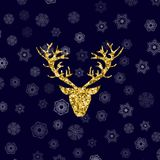 Gold Glitter Deer Head with Branched Horns royalty free illustration