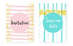 Gold glitter dots with sequins. Wedding and bridal shower invita. Tion cards set with confetti. Vertical stripes background. Vintage gold glitter dots for party royalty free illustration