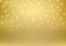 Gold glitter dust texture shining on golden background. Gold par. Ticles. Luxury design. Vector illustration. copy space Royalty Free Stock Images