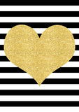 Gold glitter effect heart black and white striped background Stock Photography