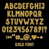 Gold glitter english alphabet, punctuation marks and numbers. Shiny font isolated on black background. Vector illustration,eps 10 vector illustration
