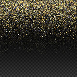 Gold glitter falling confetti on a dark checkered background. Golden grainy abstract texture . Vector. Gold glitter falling confetti on a dark checkered Stock Photography