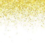 Gold glitter falling particles on white background. Vector Stock Image