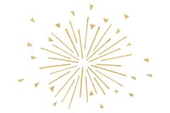 Gold glitter firework paper cut on white background. Isolated Royalty Free Stock Photos