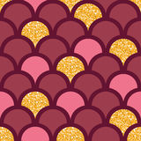 Gold glitter fish scale seamless pattern Royalty Free Stock Images
