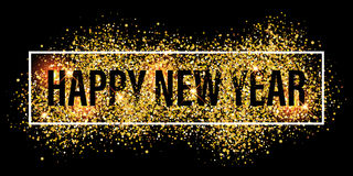 Gold glitter flare spray texture new year background. Royalty Free Stock Photo
