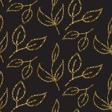 Gold glitter foliage seamless pattern. Stock Images