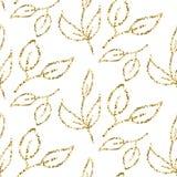 Gold glitter foliage seamless pattern. Royalty Free Stock Photo