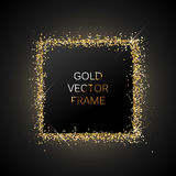 Gold glitter frame. On a black banner Stock Image