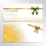 Gold glitter gift voucher, certificate, coupon for festive seaso stock illustration