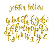 Gold glitter hand drawn latin modern calligraphy brush alphabet of lowercase letters. Vector Royalty Free Stock Image