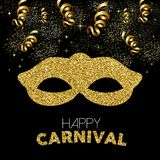 Gold glitter happy carnival mask decoration design Royalty Free Stock Images