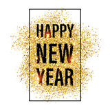 Gold glitter Happy New Year 2017 background. Stock Photos