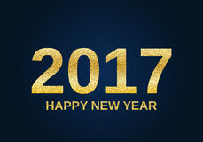 Gold glitter Happy New Year 2017 Royalty Free Stock Images