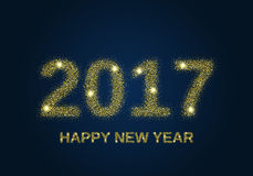 Gold glitter Happy New Year 2017. Background. Glittering texture. Gold sparkles with frame. Design element for festive banner, card, invitation Royalty Free Stock Photo