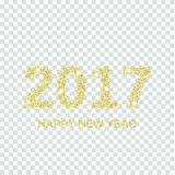Gold glitter Happy New Year 2017 Royalty Free Stock Photography