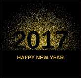 Gold glitter Happy New Year 2017 Stock Images