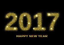 Gold glitter Happy New Year 2017. Background. Glittering texture. Gold sparkles with frame. Design element for festive banner, card, invitation Stock Photo