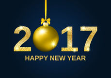 Gold glitter Happy New Year 2017 background. Gold glitter Happy New Year 2017 greeting card background, with gold christmas ball and gold sparkle text Stock Images
