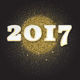 Gold glitter Happy New Year 2017 background. sparkles. Vector illustration. Gold glitter Happy New Year 2017 background. Gold sparkles, invitation template for Stock Photos