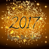 Gold glitter Happy New Year 2017 background. Vector background.Glittering texture. Sparkles with frame. Design element for festive. Banner, card, invitation Stock Photography