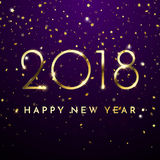 Gold glitter 2018 Happy New Year text on black sparkling background Royalty Free Stock Image