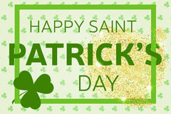 Gold glitter Happy St. Patrick's Day greeting card. Vector illus Royalty Free Stock Images