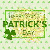 Gold glitter Happy St. Patrick's Day greeting card. Vector illus Stock Photo