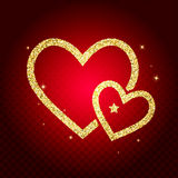 Gold glitter heart card. Valentine card concept. Vector illustra Stock Photos