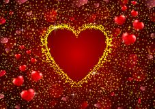 Gold glitter a heart concept background Royalty Free Stock Photos