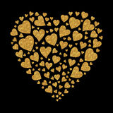 Gold glitter heart Stock Photography