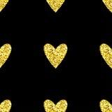 Gold glitter heart seamless pattern Royalty Free Stock Photos