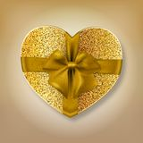 Gold glitter heart shape gift box royalty free stock image