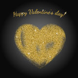 Gold glitter heart sign. With sparkles on black background. Gold sparkles and glitter vector illustration.nValentine`s day greeting card. Design for wedding vector illustration