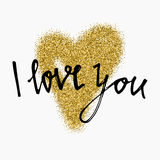 Gold glitter heart sign sparkles isolated on white background. I love you. Hand brush lettering. Design for wedding card, valentin Royalty Free Stock Photography