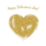 Gold glitter heart sign. With sparkles isolated on white background. Gold sparkles and glitter vector illustration.nValentine`s day greeting card. Design for Royalty Free Stock Photo