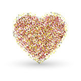 Gold glitter heart sign sparkles isolated on white background Royalty Free Stock Photos