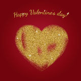 Gold glitter heart sign. With sparkles on red background. Gold sparkles and glitter vector illustration.nValentine`s day greeting card. Design for wedding card royalty free illustration