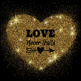 Gold glitter heart with sparkles on black background Royalty Free Stock Photo