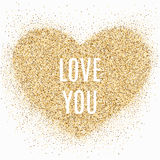 Gold glitter heart with sparkles on white background Stock Photo