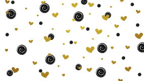 Gold glitter hearts and black circles video. Gold glitter hearts and black circles motion background. Video animation HD 1920x1080 stock footage