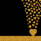 Gold glitter hearts luxury card design Stock Images
