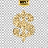 Gold glitter  icon of dollar isolated on background. Art creative concept illustration for web, glow light confetti, bright Stock Photography