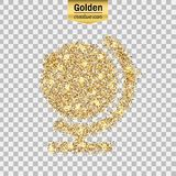 Gold glitter  icon. Of globe isolated on background. Art creative concept illustration for web, glow light confetti, bright sequins, sparkle tinsel, abstract Stock Image