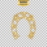 Gold glitter  icon. Of hoof isolated on background. Art creative concept illustration for web, glow light confetti, bright sequins, sparkle tinsel, abstract Stock Photo