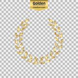 Gold glitter  icon. Of laurel wreath isolated on background. Art creative concept illustration for web, glow light confetti, bright sequins, sparkle tinsel Stock Photography