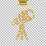 Gold glitter  icon. Of telescope isolated on background. Art creative concept illustration for web, glow light confetti, bright sequins, sparkle tinsel Stock Images
