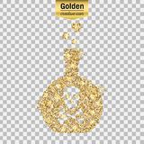 Gold glitter  icon. Of toxin isolated on background. Art creative concept illustration for web, glow light confetti, bright sequins, sparkle tinsel, abstract Royalty Free Stock Photo